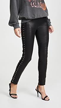 Lace Up Side Seam Leather Leggings
