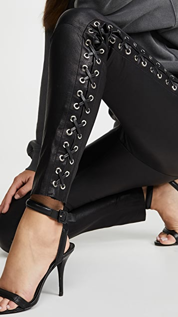 SPRWMN Lace Up Side Seam Leather Leggings