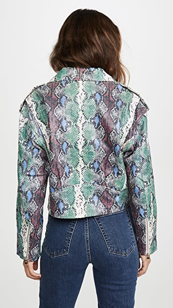 SPRWMN Snake Embossed Leather Jacket