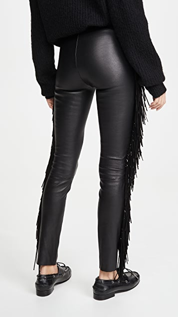 SPRWMN Ankle Pants with Suede Fringe