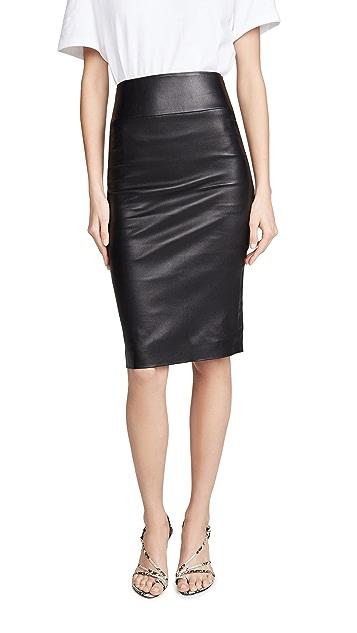 SPRWMN Straight Leather Pencil Skirt