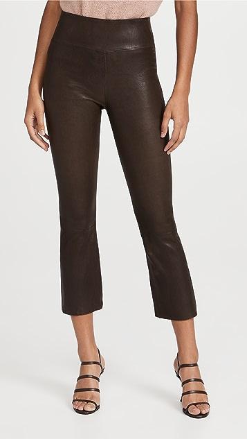 SPRWMN Crop Flare Leather Leggings