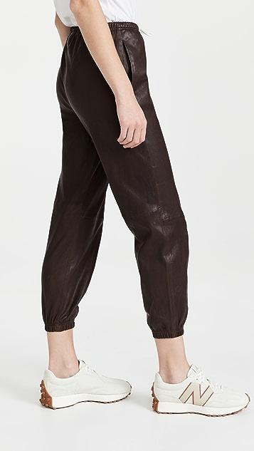 SPRWMN 皮抽绳慢跑长裤