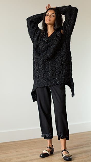Simone Rocha 珠饰 V 领绞花毛衣
