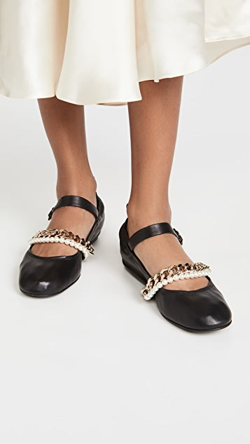 Simone Rocha Ballet Flats with Chain and Pearl Ankle Strap
