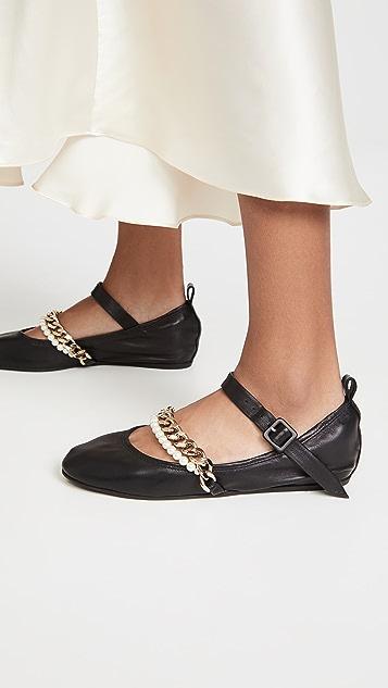 Simone Rocha 链条和珍珠踝带芭蕾舞平底鞋