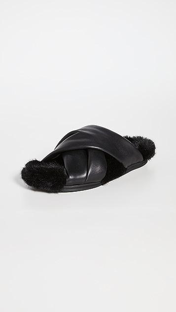 Simone Rocha 连毛衬里交叉带凉拖鞋