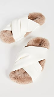 Simone Rocha Cross Strap Slides with Shearling Lining