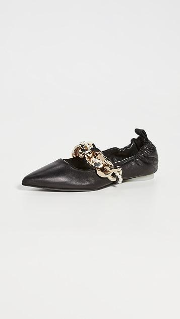 Simone Rocha 链条点缀尖头平底鞋
