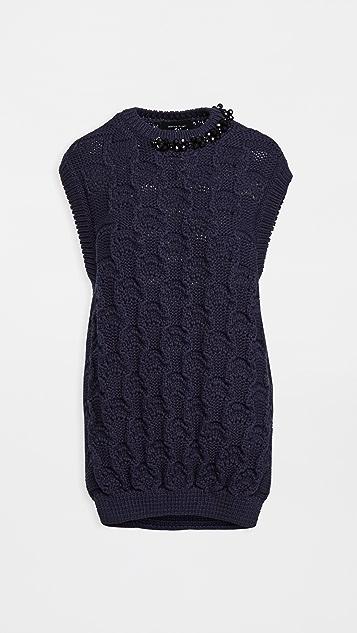 Simone Rocha Embellished Oversized Bubble Sweater Vest