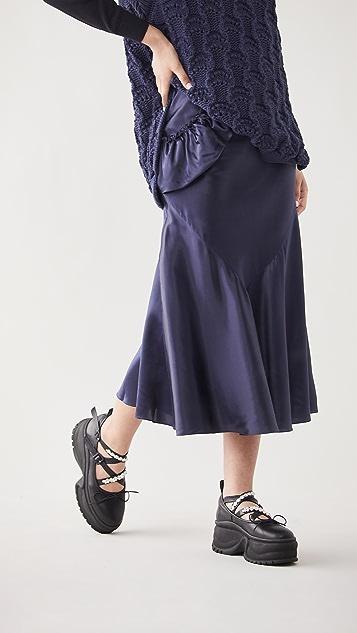 Simone Rocha 扭褶侧面流苏斜裁半身裙