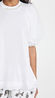 Simone Rocha Embelished A-Line Tulle Overlay Sleeve Top
