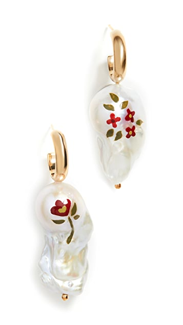 Simone Rocha Hand Painted Baroque Pearl Earrings