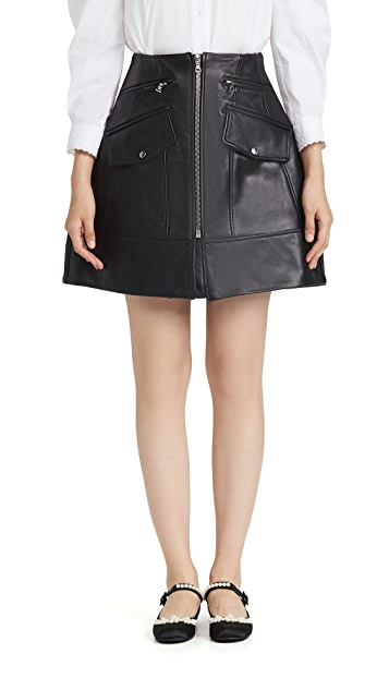 Simone Rocha Sculpted Leather A-Line Miniskirt