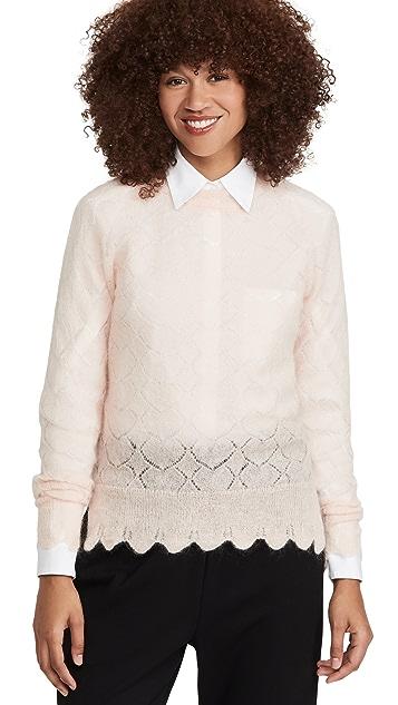 Simone Rocha Heart Stitch Scallop Edge Mohair Sweater