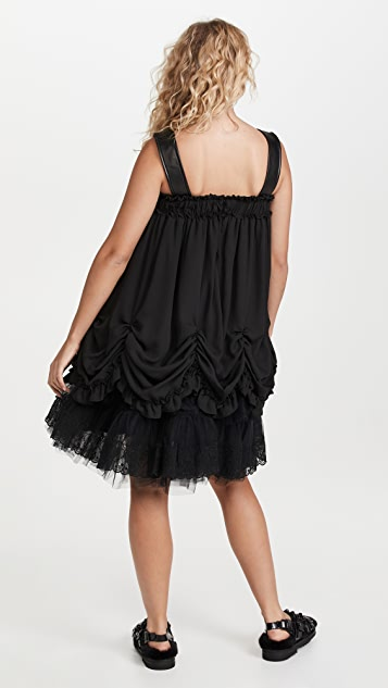 Simone Rocha Sleeveless Ruched Tiered Dress with Leather Straps