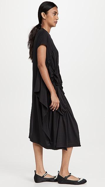 Simone Rocha Short Sleeve Ruched Waist Flower Dress