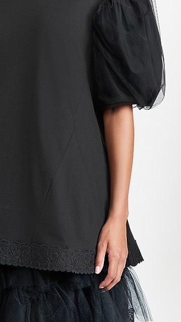 Simone Rocha 薄纱罩层袖 A 字剪裁 T 恤
