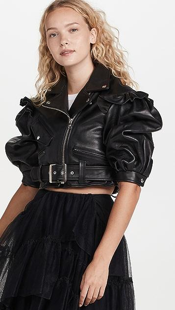 Simone Rocha Puff Sleeve Biker Detail Jacket