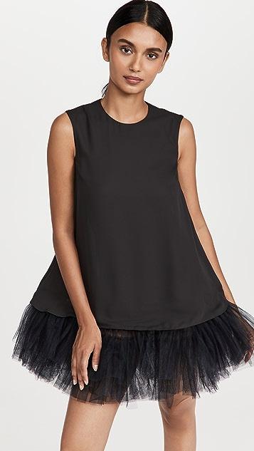 Simone Rocha Sleeveless Mini Dress with Tulle Peplum Frill