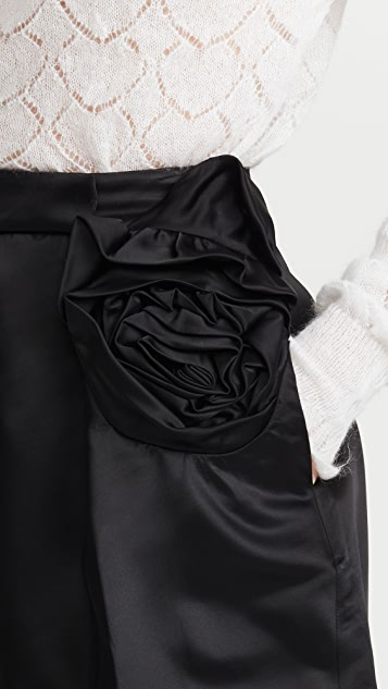 Simone Rocha Sculpted Shorts with Rose Flower Detail