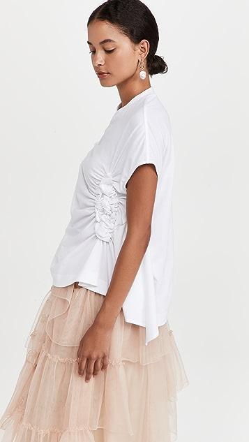 Simone Rocha Short Sleeve Ruched Waist Flower T-Shirt
