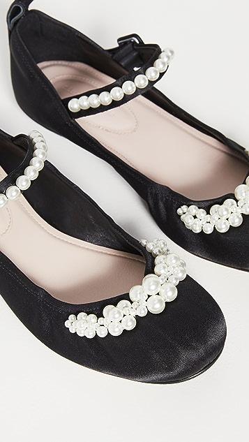Simone Rocha 珠饰踝带圆头芭蕾舞平底鞋