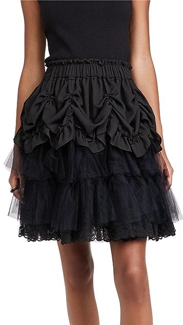 Simone Rocha 层褶荷叶边迷你芭蕾舞半身裙