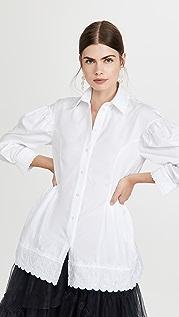 Simone Rocha Bracelet Sleeve Shirt with Embroidered Heart Trim