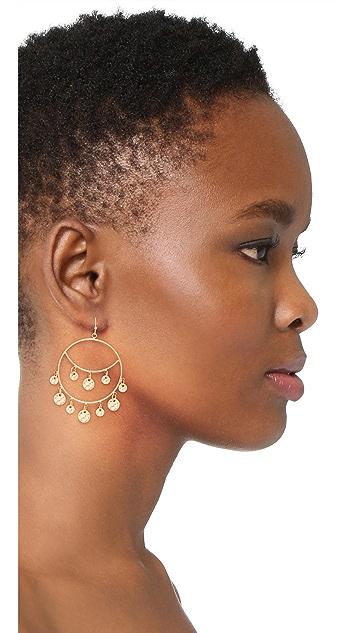 Stella + Ruby Disc Dangle Hoop Earrings
