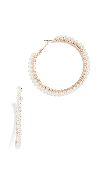 Stella + Ruby Imitation Pearl Hoop Earrings