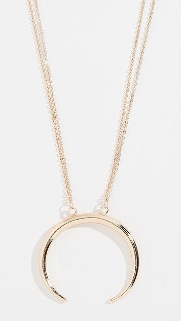 Stella + Ruby Crescent Pendant Necklace
