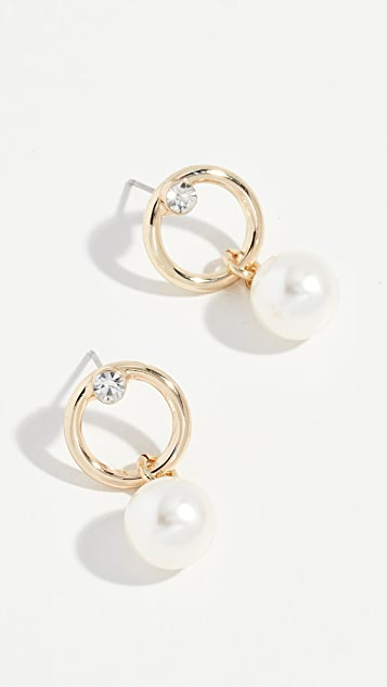 Stella + Ruby Glass Pearl Mini Hoop Earrings