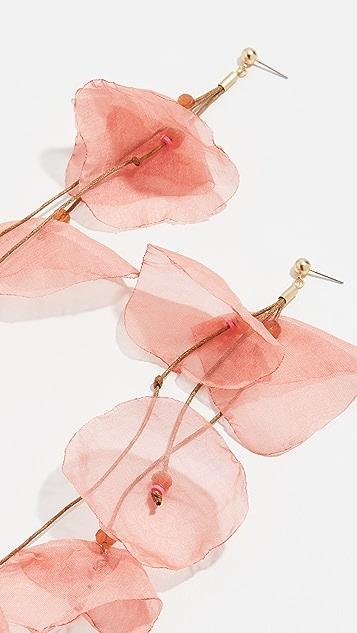 Stella + Ruby Long Chiffon Flower Earrings