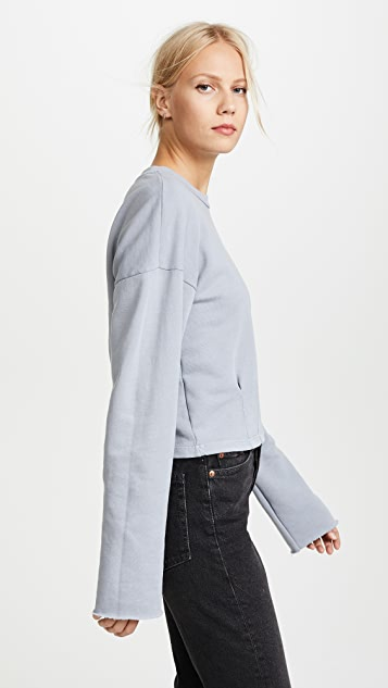 Stateside Pleated Cropped Sweatshirt