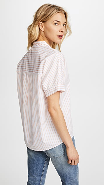 Stateside Short Sleeve Striped Oxford Button Down