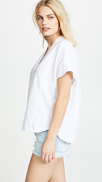Stateside Oxford Popover Blouse
