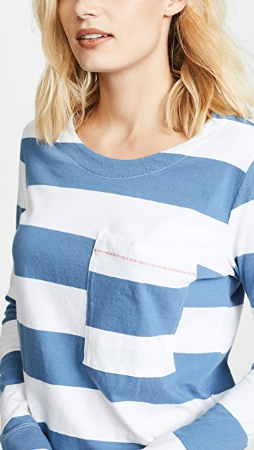 Stateside Wide Rugby Stripe L / S Pocket Tee
