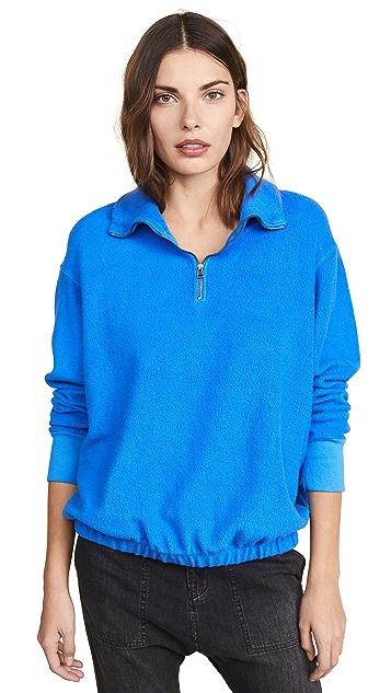 Stateside Пуловер из махрового трикотажа из искусственного меха на молнии до половины длины