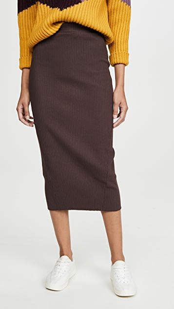 Stateside 厚实罗纹中长半身裙