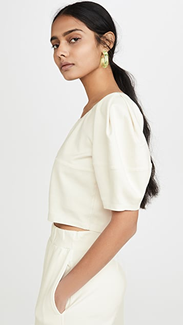 Stateside Ponte Puff Sleeve Top