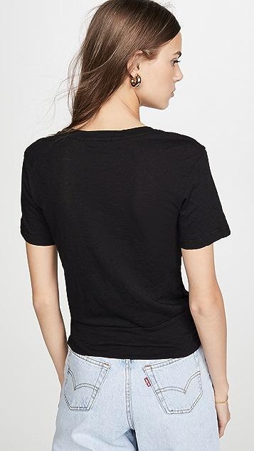 Stateside 正面扭褶 Supima 竹节纹 T 恤