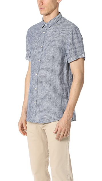 Scotch & Soda Structured Linen Short Sleeve Shirt