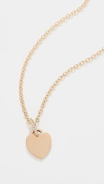 Single Stone Ellis Heart Necklace with Diamond Bale