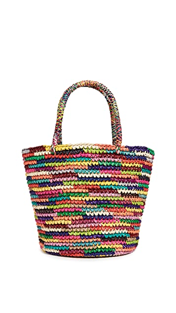 Sensi Studio Medium Straw Multicolor Tote