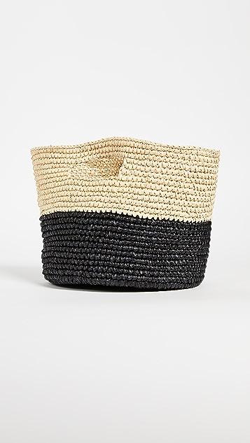 Sensi Studio Two Tone Round Basket Bag
