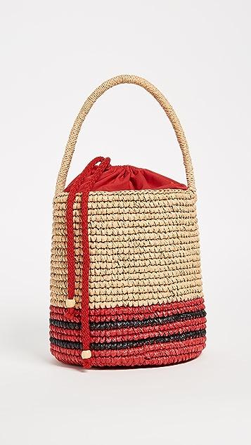Sensi Studio Striped Straw Bucket Bag