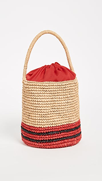 Striped straw bucket bag Sensi Studio deIv8S