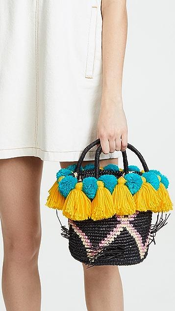 Sensi Studio Маленькая объемная сумка с короткими ручками и помпонами