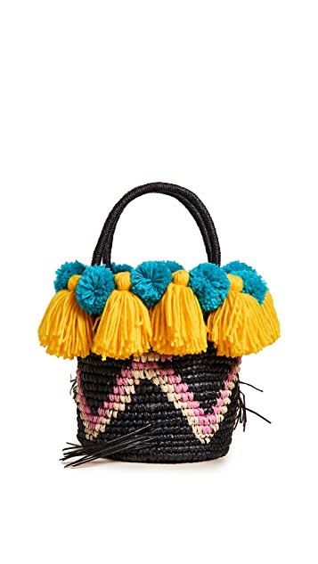 Sensi Studio Small Tote Bag with Pom Poms